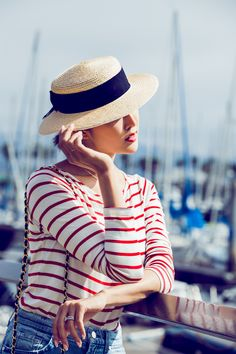 Red Striped Top & Boater Hat