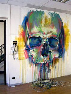 Street Art / Graffiti. So cool for a #watercolor #skull piece