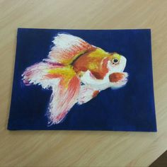 Painting of Goldfish impasto - Acrylic on canvas board