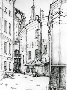 Mstislav Dobuzhinsky, Courtyard in St. Petersburg, 1920