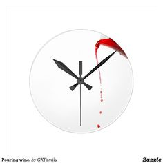 Pouring wine. round wall clock