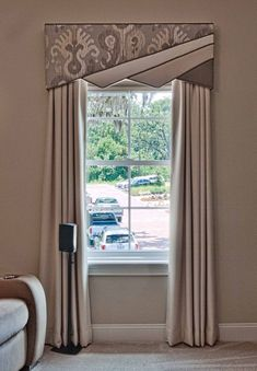 Cornice Board and Curtain Window Treatment Window Treatments Living Room, Custom Window Treatments, Contemporary Window Treatments, Contemporary Windows, Window Treatment Store, Valance Window Treatments, Window Curtains, Diy Window Blinds, Curtains With Blinds