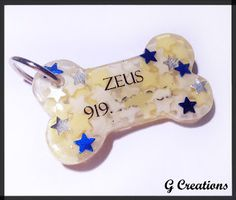 G CREATIONS: Custom Orders, May 2013 #bone #dog #tag #pet #id #collar #accessory #star #stars #candy #yellow #silver #white #blue #metallic #resin
