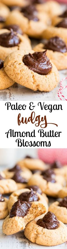 These almond butter blossom cookies start with an easy paleo and vegan almond butter cookie topped with a fudgy chocolate almond butter center.  Easy and fun to make, these cookies are a hit for the holidays or whenever a craving strikes!  Kid friendly, egg free, peanut free, vegan, grain free, refined sugar free
