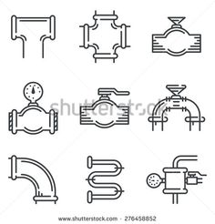 Set of black flat line vector icons for pipeline elements on white background - stock vector