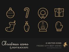 Free christmas icons set with best wishes by Eight Black Dots