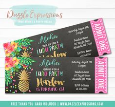 Printable Pineapple Luau Chalkboard Ticket Birthday Invitation | Gold Foil and Watercolor Tropical Floral | Girls Hawaiian Summer Party | Pool Party | Hawaii Luau Invite | Cupcake Toppers | Banner | Favor Tags | Food Labels | Signs | DIY Party Decor Available