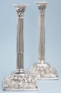 Pair of impressive silver George III tall Corinthian filled candlesticks (1761 London) by EBENEZER COKER, LONDON (1738-1783)