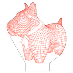 Scottish terrier dog 3d illusion vector file for CNC - 3bee-studio