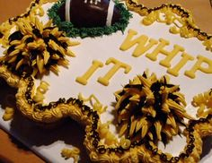 Cheerleading Football End of season black yellow Cupcake Cake by Cre8ive Cakes - the most cre8ive cupcake cakes in texas - www.cre8ivecakes.com