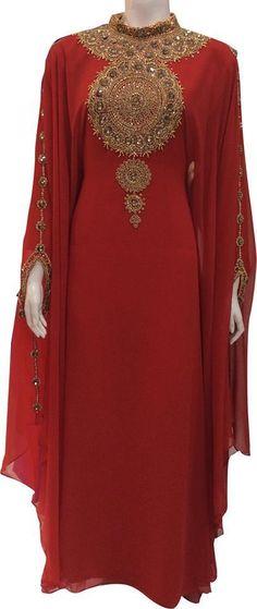Fancy New Jalabiya Jilbab Georgette Moroccan Caftan Wedding Gown Modern Dress | eBay