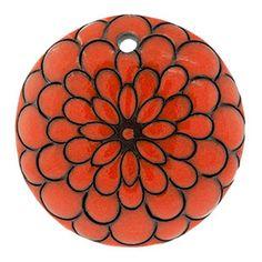 36-38mm Orange Peacock Flower Domed Circle Pendant by Golem Design Studio | Fusion Beads