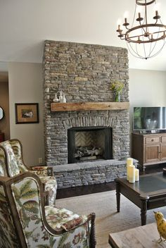 Rustic Stone Stone Fireplace. Collonade Gray Sherwin Williams. Ballard Designs Lourdes Chandelier