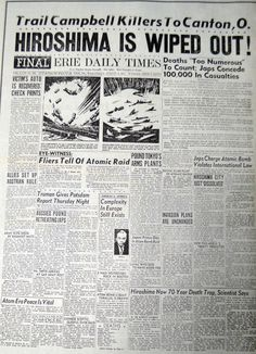 Iconic front page detailing coverage of the atomic bomb dropped on Hiroshima dated August Newspaper Front Pages, Old Newspaper, Newspaper Article, History Facts, World History, History Timeline, Hiroshima E Nagasaki, Hiroshima Bombing, Front Page News
