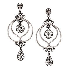 JJ Caprices - Black and Crystal Drop Filigree Earrings by LK Designs