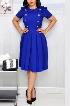 Blue Fashion Lotus Leaf Collar Fold OL Wind Short-sleeved Dress Freakum Dress, Purple And Gold Dress, Short Sleeve Dresses, Dresses With Sleeves, Long Sleeve, Perfect Prom Dress, Blue Fashion, African Fashion, Womens Fashion