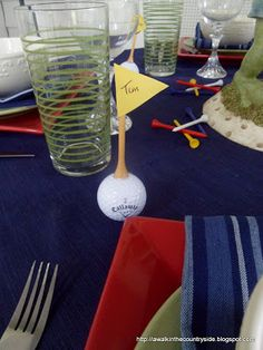 Callaway golf balls in his golf bag and glued a tee and made a little flag to use as the place card.