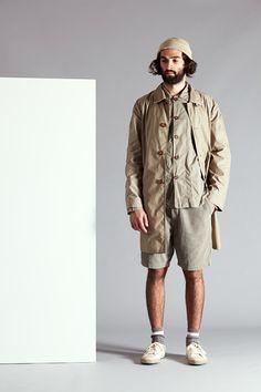 Rain Coat in Wax Cotton - Baker Overshirt in Poplin - Deck Shorts in Fine Cord - Summer Sock in Grey Cotton