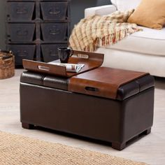 Furniture: Brown Leather Square Ottoman Coffee Table When You Open Lid You Find Space To Storage Multifunction Can Be Used Storage Tray Seat And Table Adding Armchair There To Complete Your Guest Room from Multi-Function Ottoman Coffee Table Designs