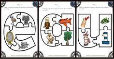 Aprendemos las vocales con este divertido puzzle - Imagenes Educativas Bilingual Education, Learn English, Puzzles, Peanuts Comics, Learning, Montessori, Alphabet, Shape, Preschool Education