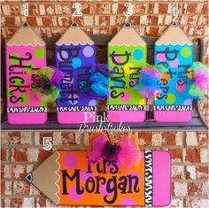 Bright Polka Dot Pencil Teacher Classroom Wooden Door Hanger with Zebra Print by PinkBrushstrokes $30