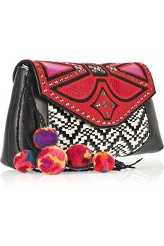love the pom-poms on this clutch