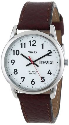 "Timex Men's T20041 ""Easy Reader"" Brown Leather Strap Watch. $32"