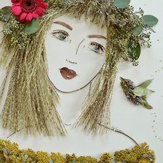 """Ella & Peaches"" Flower Face Print by Sister Golden/Brooke Rawlins Arte Floral, Dame Nature, Pressed Flower Art, Peach Flowers, Nature Crafts, Art Plastique, Face Art, Altered Art, Diy Art"