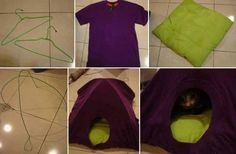 Creative Idea For Your Cat – DIY Cat Tent I found a great idea for cat lovers, how to make a cat tent in 3 steps. It's easy, and no cutting or sewing machine. All you need is an old T shirt and two hangers as in image. Diy Cat Tent, Diy Tent, Cat Teepee, Diy Old Tshirts, Old T Shirts, Lit Chat Diy, Cat House Diy, Kitty House, Big Dogs
