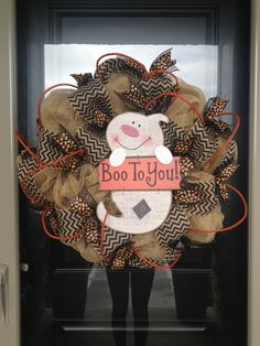 Boo to You Halloween Wreath by DoorEnvy on Etsy