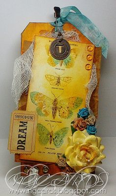 "Tag: yellow tones, ""dream"", butterflies, roses, fiber."