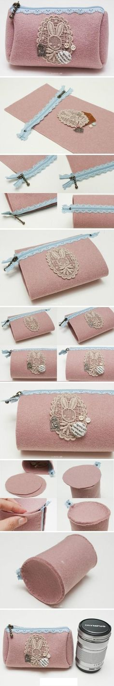 Cute little felt purse tutorial, this would be a fun upcycled felted sweater sewing project! Love the lacy zipper. Sewing Tutorials, Sewing Crafts, Sewing Projects, Diy Projects, Purse Tutorial, Diy Tutorial, Felt Diy, Felt Crafts, Diy Crafts