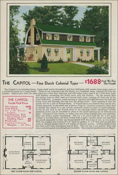 gambrel style barn homes | Dutch Colonial Revival - 1931 Aladdin Homes - Gambrel Roof