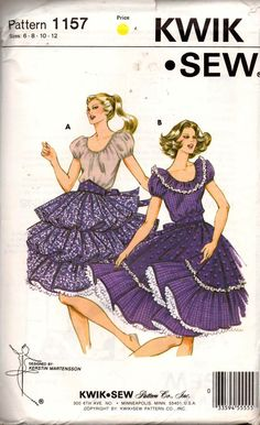 ffacb1140d16c Kwik Sew 1157 Womens Square Dance Dress or Peasant Dress 1980s Vintage  Sewing Pattern Size 6 8 10 12 UNCUT Factory Folded