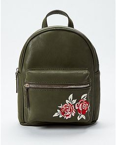 The Brooke Rose Embroidered Backpack features a black vegan leather backpack with red embroidered roses on the front. Mini Mochila, Backpack Purse, Leather Backpack, Leather Bags, My Bags, Purses And Bags, Fashion Bags, Fashion Backpack, Cute Mini Backpacks