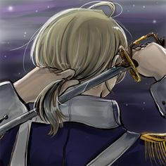 Alfred cutting his hair - Artist unknown