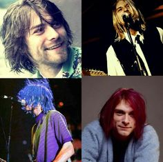 Different hair colours of Kurt Cobain - really like the blue and the brown!
