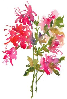 """Fresh Pick Azaleas A loosely painted piece of azalea sprays. Fine art print from my painting, size medium 8.5""""x11"""" (image size to fit 8x10 opening) using archival inks and printed on 100% watercolor rag paper, with slight texture, great for watercolor prints. The piece is"""