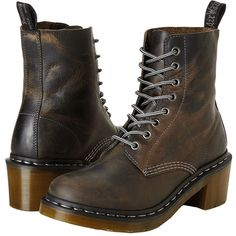 Dr. Martens Clemency 8-Eye Boot Women's Lace-up Boots ($42) ❤ liked on Polyvore featuring shoes, boots, brown, slip resistant shoes, brown boots, lace up boots, chunky heel lace up boots and real leather boots