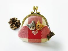 Metal frame purse cat purse coin purse embroidery by DooDesign, $26.00