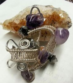 Amethyst Pendant, Quartz Pendant, Wire Wrap Pendant, necklace pendant, gift for her, for mom, Mothers day, Valentines day, Birthday gift