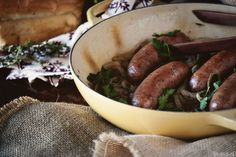 Braised Onions & Sausage. Recipe from Pass the Sushi: http://passthesushi.com