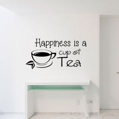 Vinyl Wall Decal Tea Decor Happiness Is A Cup Of от WisdomDecals
