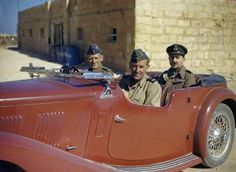 Royal Air Force Air Officer Commanding Malta, Air Vice Marshal Keith Park (at the wheel) and AOC Desert Air Force Air Vice Marshal Sir Arthu...