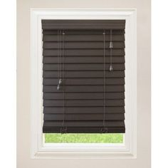 "Wildon Home  Faux Premium Wood Venetian Blind Color: Espresso, Size: 34.5"" W x 72"" L"