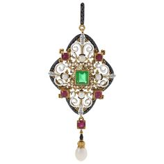 """Giuliano Italian Renaissance Revival Pendant with Diamonds, Emerald & Rubies. 18 karat gold and enamel pendant with emerald, rubies and diamonds by Carlo Giuliano. The pendant has a Square-cut emerald, 5 round-cut rubies and 12 old mine-cut diamonds. Geoffrey Munn notes, """"It is Renaissance jewellery of this type that appears to have inspired Guiliano to make a series of jewels incorporating human figures."""" Original fitted box. Circa 1865-1875."""