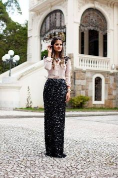Black sequin maxi skirt with nude blouse