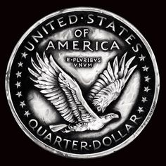 Black and White Standing Liberty Quarter Reverse by TheNightGallery.deviantart.com on @DeviantArt