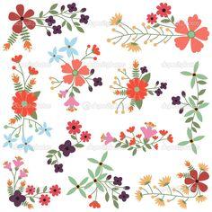Vektor-Satz von Vintage-Stil Blume-Clustern — Stockilllustration #22912866