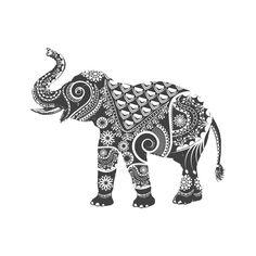 Ornamental Elephant Circle Wall Decal